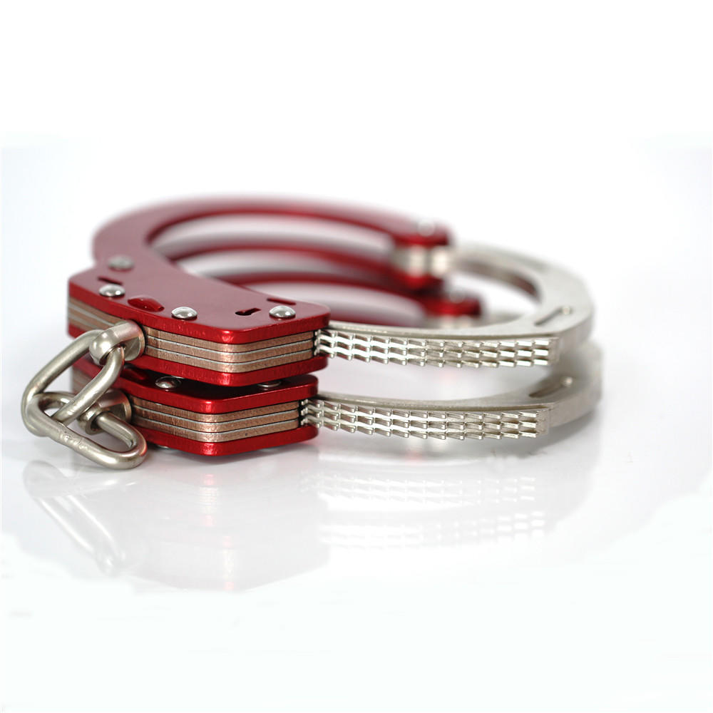 Police Metal Chain HandCuffs with Safety Release And Key Silver