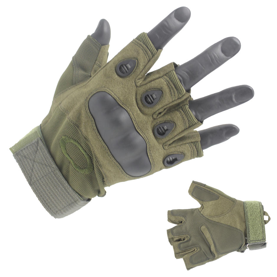 Factory Price Half Finger Green Army Gloves Wholesale-JN