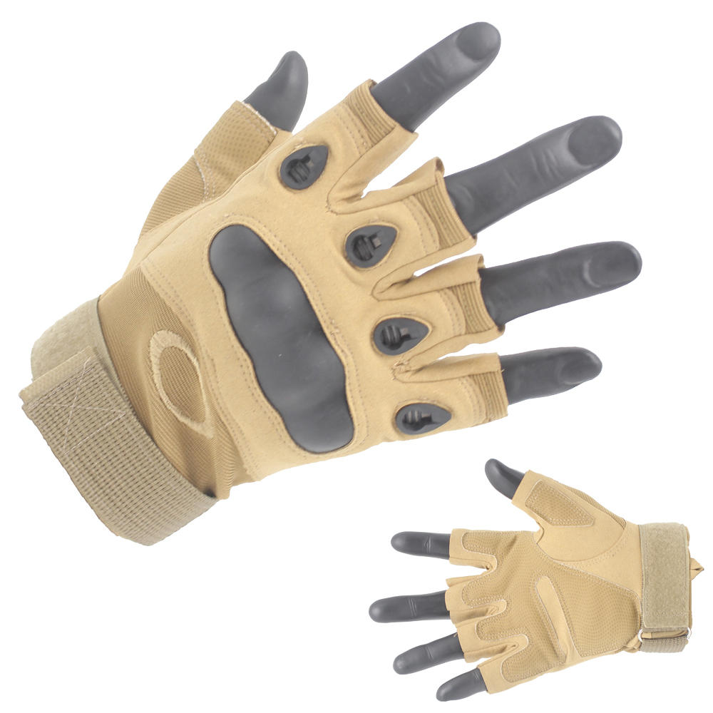 Professional Khaki Half Finger Gloves Protective gloves Supplier-JN