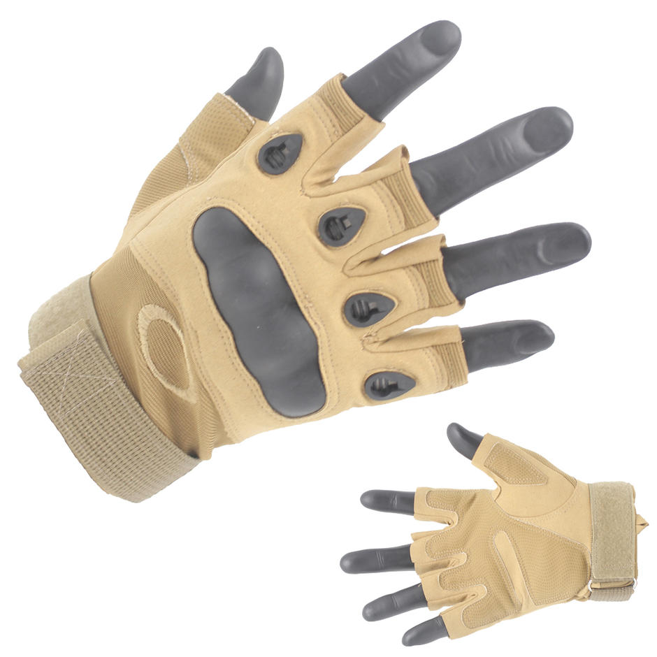 Professional Khaki Half Finger Gloves Protective gloves Supplier-JN