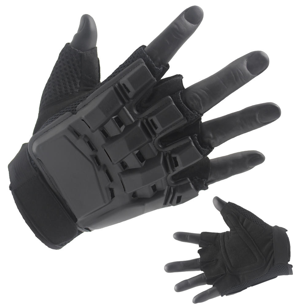 Best Black Half Finger Gloves Palstic Hard Cover Back Factory Price-JN