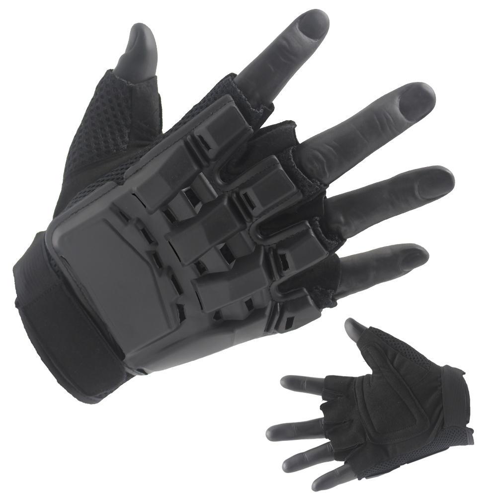 Best Black Half Finger Gloves Palstic Hard Cover Back Factory Price-JN