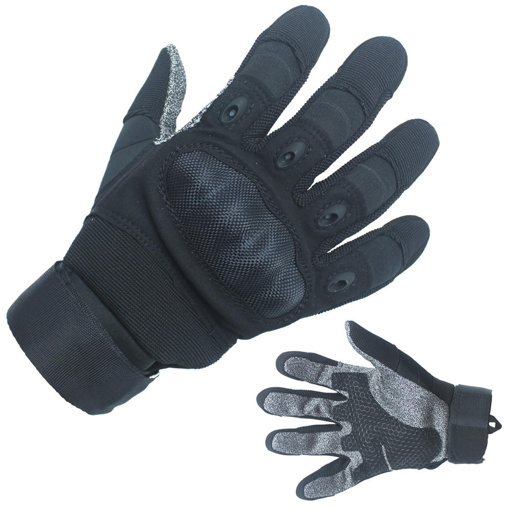 Oem Tactical Gloves Black Hard Shell with Texitle Palm For Sale-JN